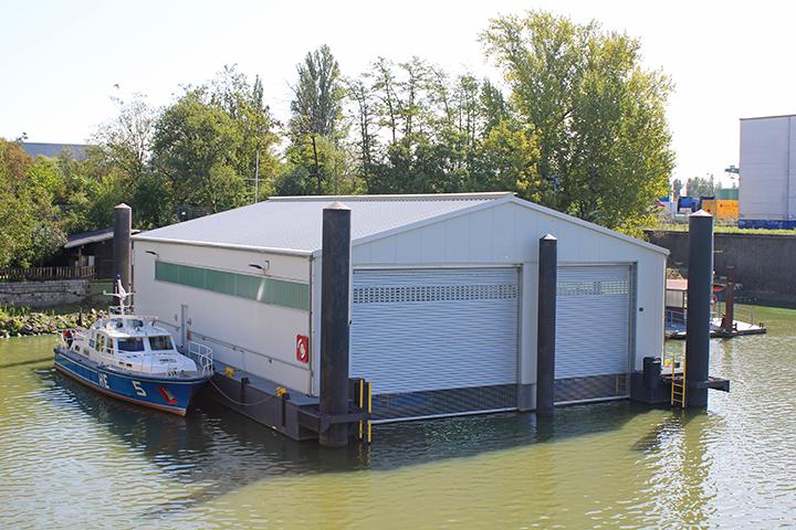 Bootshalle Osthafen Nordbecken, Frankfurt/M., Gebäudeeinmessung für Katasternachweis